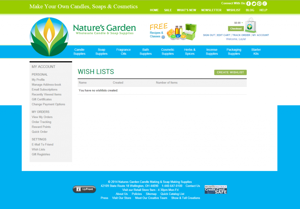 wishlists page on NG site