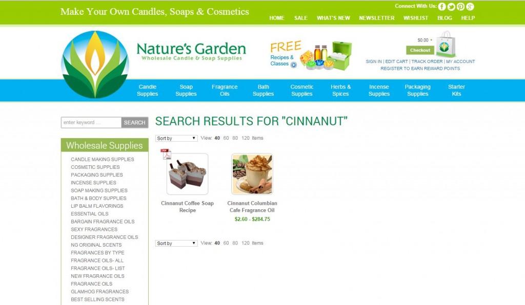 cinnanut results page