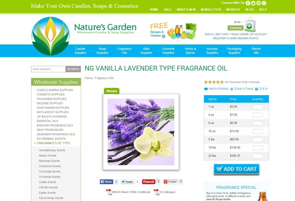 vanilla lavender fragrance page